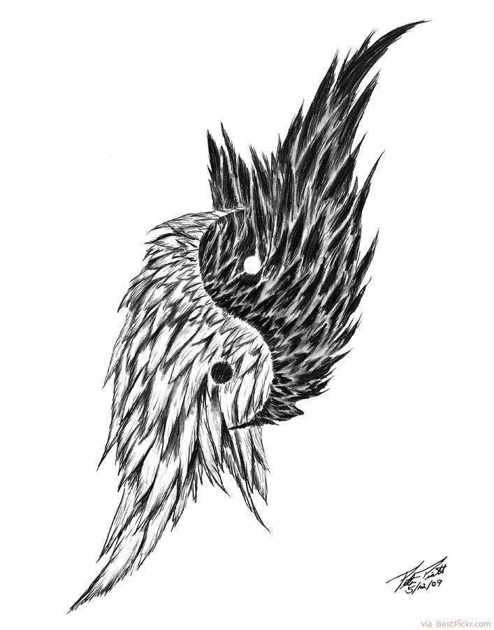Feathered-Angel-Wings-Yin-Yang-Art